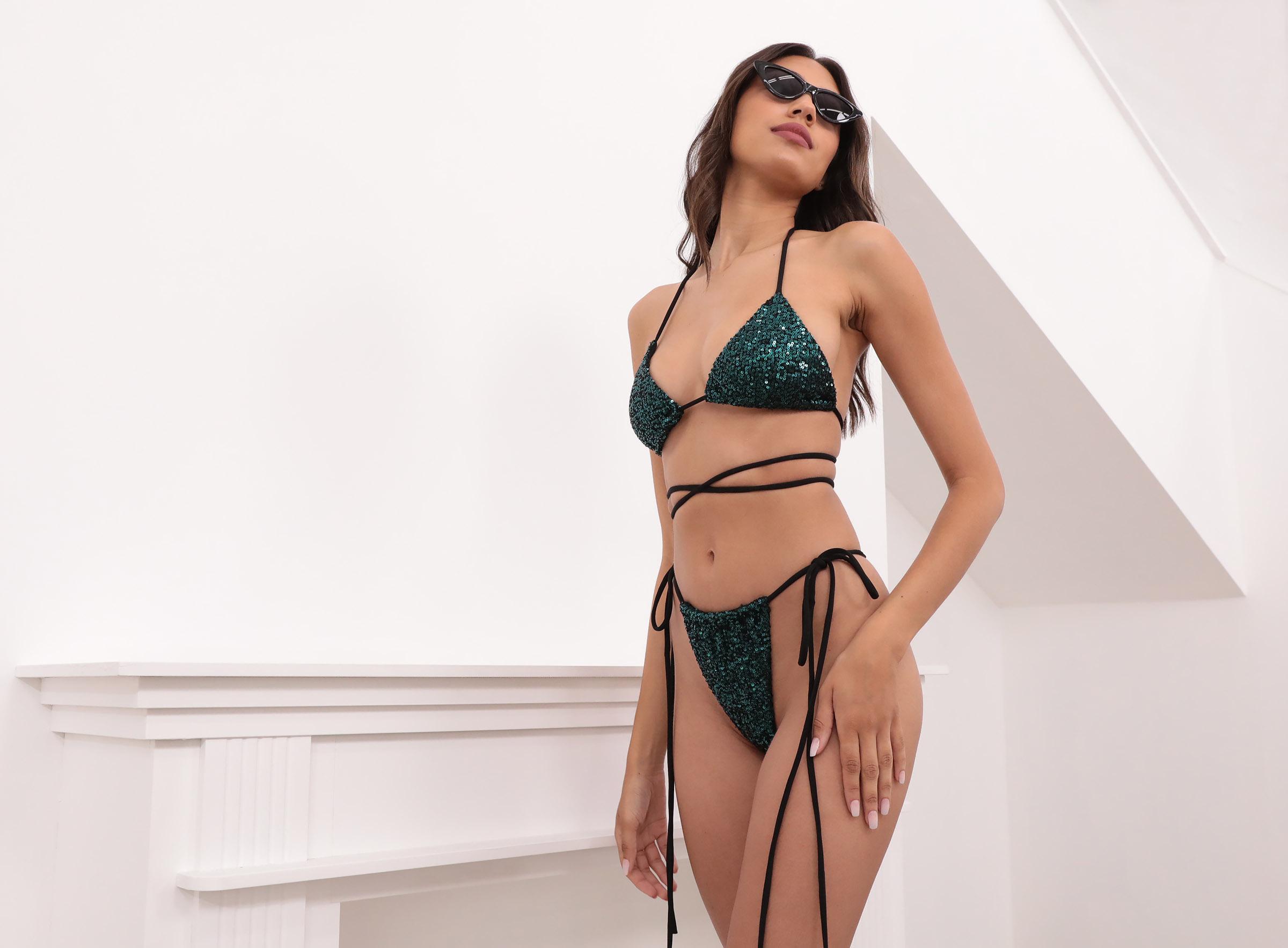 Napoli Sequined Bikini Set in Emerald Green