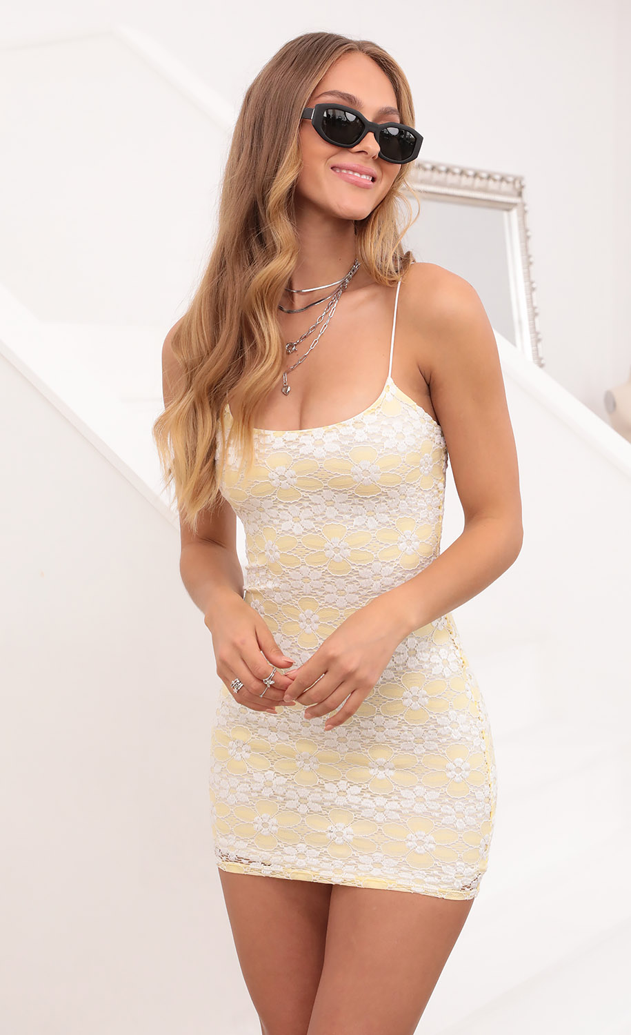 Glisten Bodycon Dress In White and Yellow Floral Lace