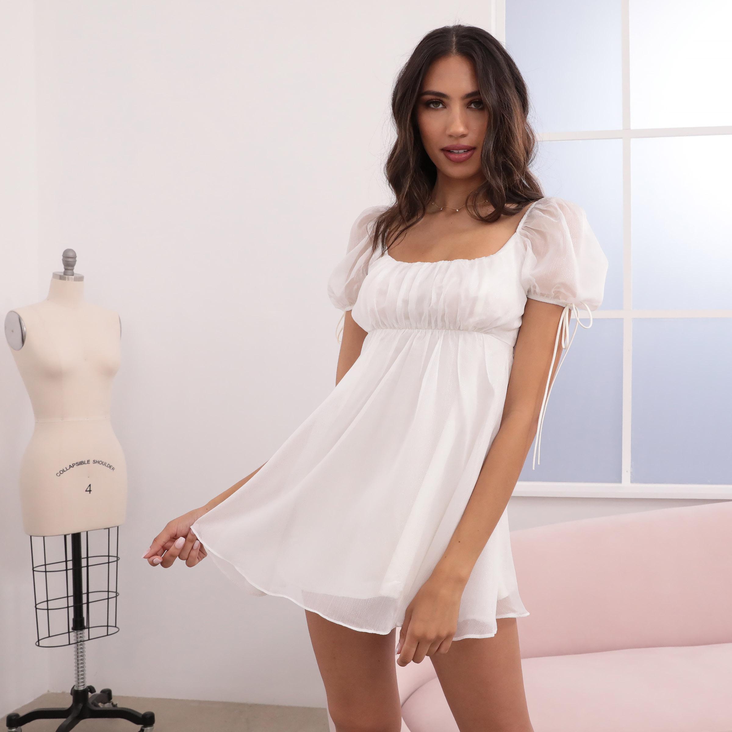 Leilani Chiffon Babydoll Dress in White