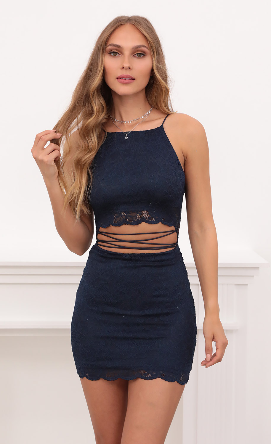 Meghan Halter Wraparound Tied Lace Dress in Navy