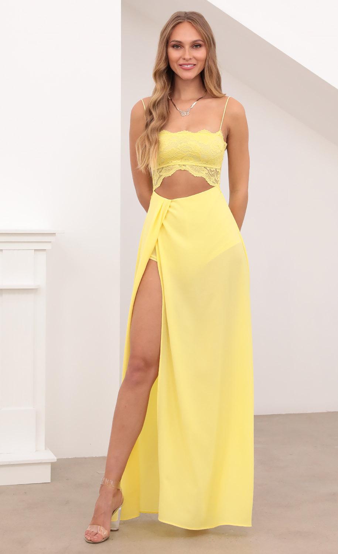Janice Cutout Maxi Dress in Yellow Lace