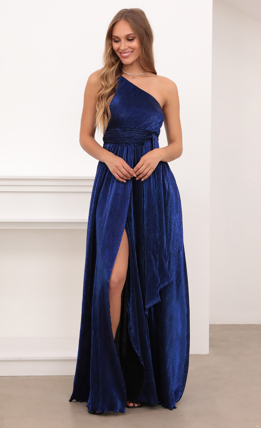 Olympia One Shoulder Pleated Klein Blue Dress