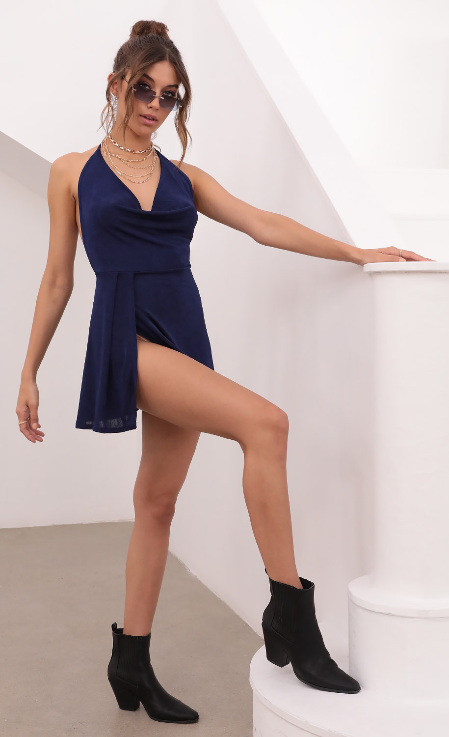 Kiana Cowl Neck Dress in Navy