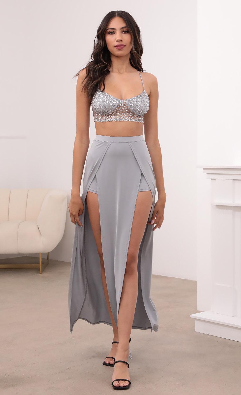 Michelle Maxi Set in Silver-Gray