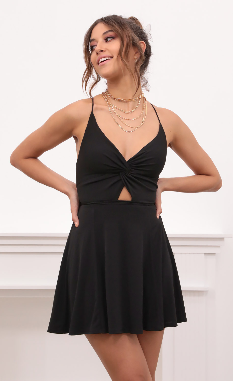 Adalee Front Twist Dress in Black