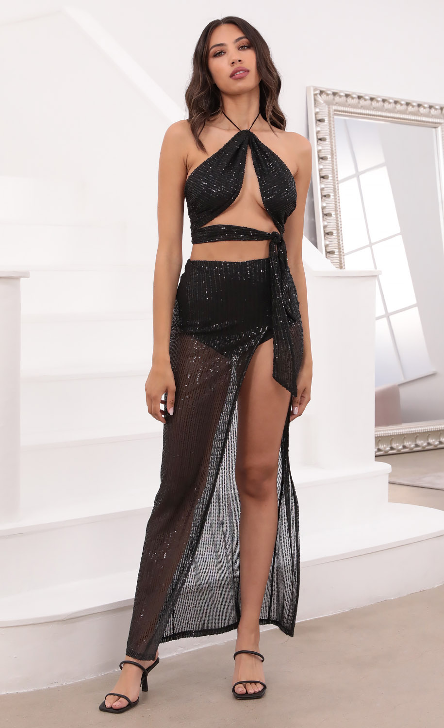 Giuliana Ruched Sequin Set in Black