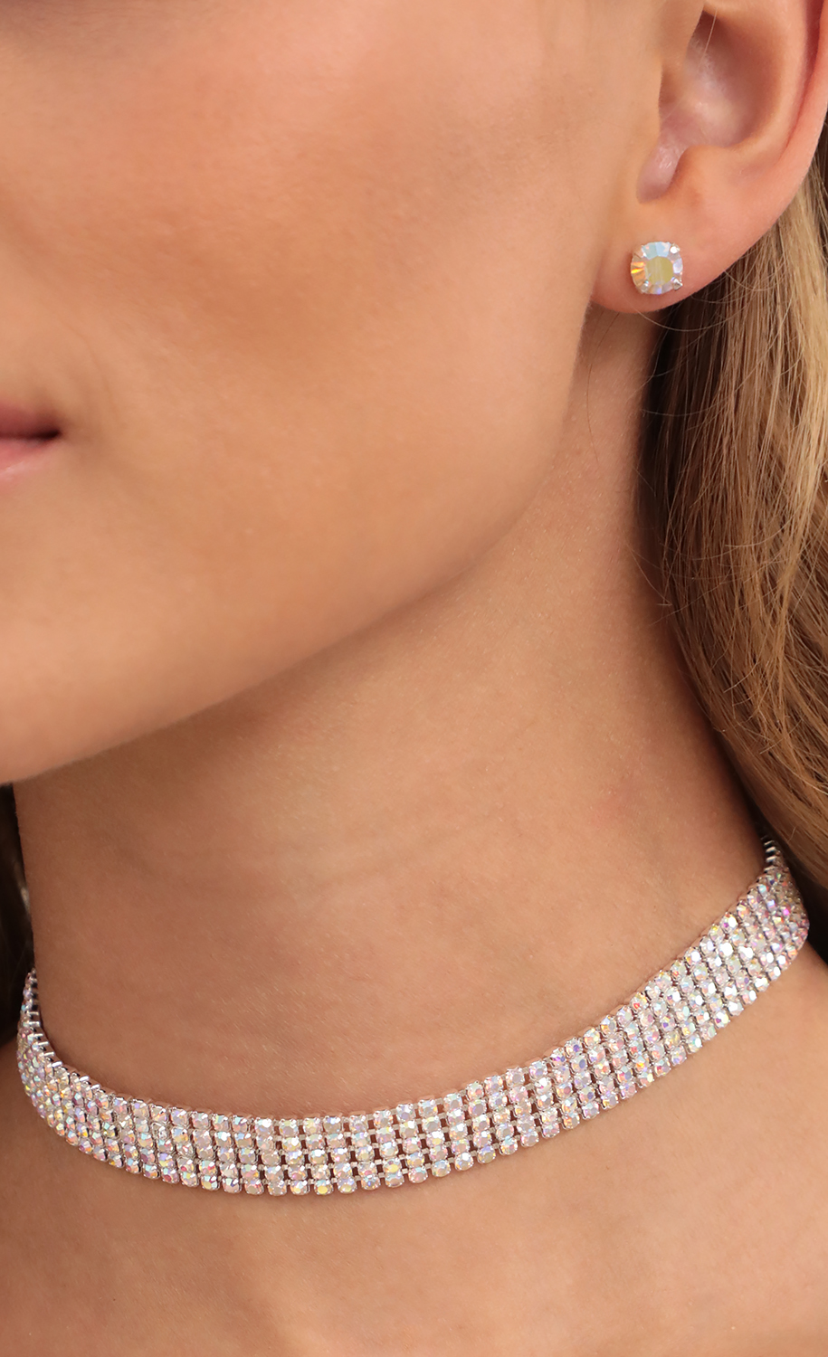 Fifth Row Rhinestone Crystal Choker Set in Iridescent