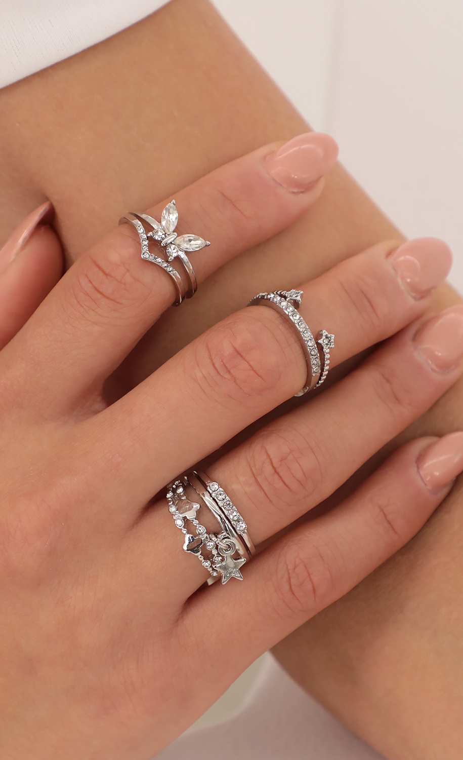Butterfly Stars Dainty Silver Ring Set