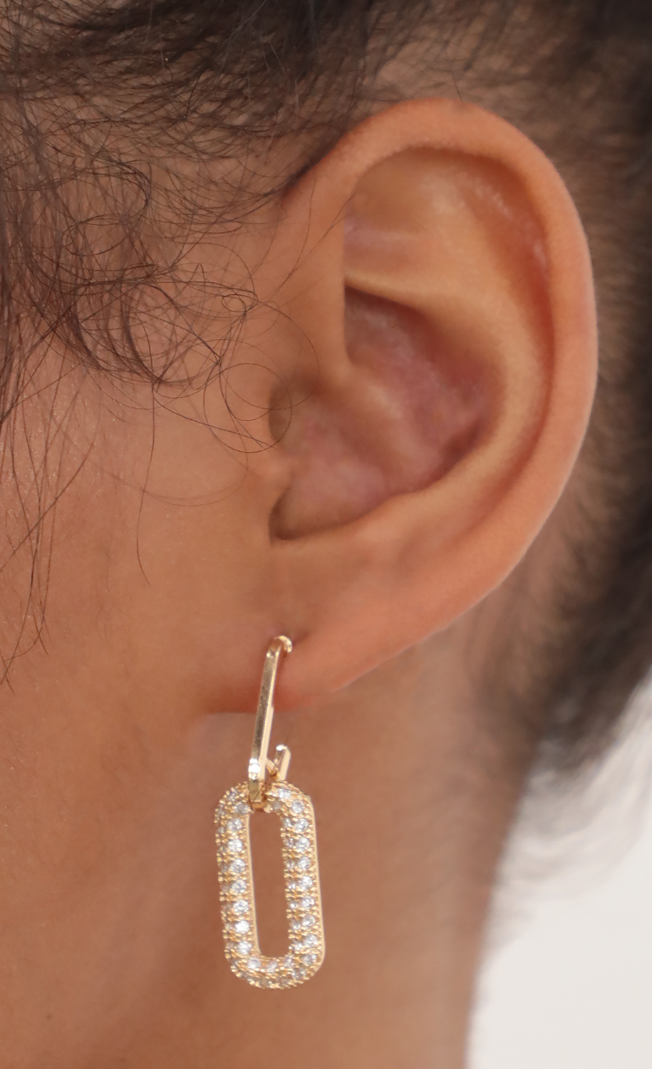 Pave Oval Link Drop Earring