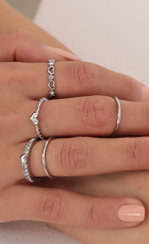 Silver Sweetheart Ring Set
