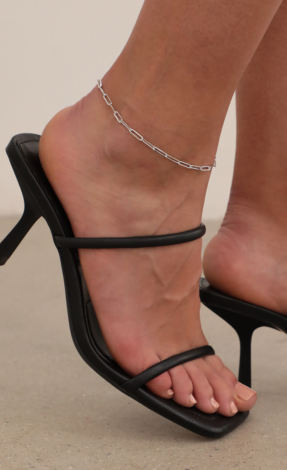 Dainty Paperclip Silver Chain Anklet