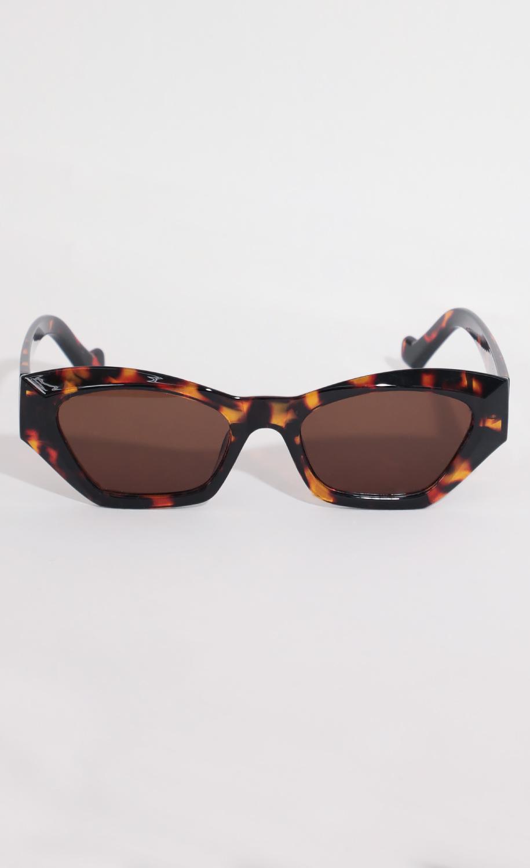Geometric Cat-Eye Sunglasses in Brown Tortoiseshell