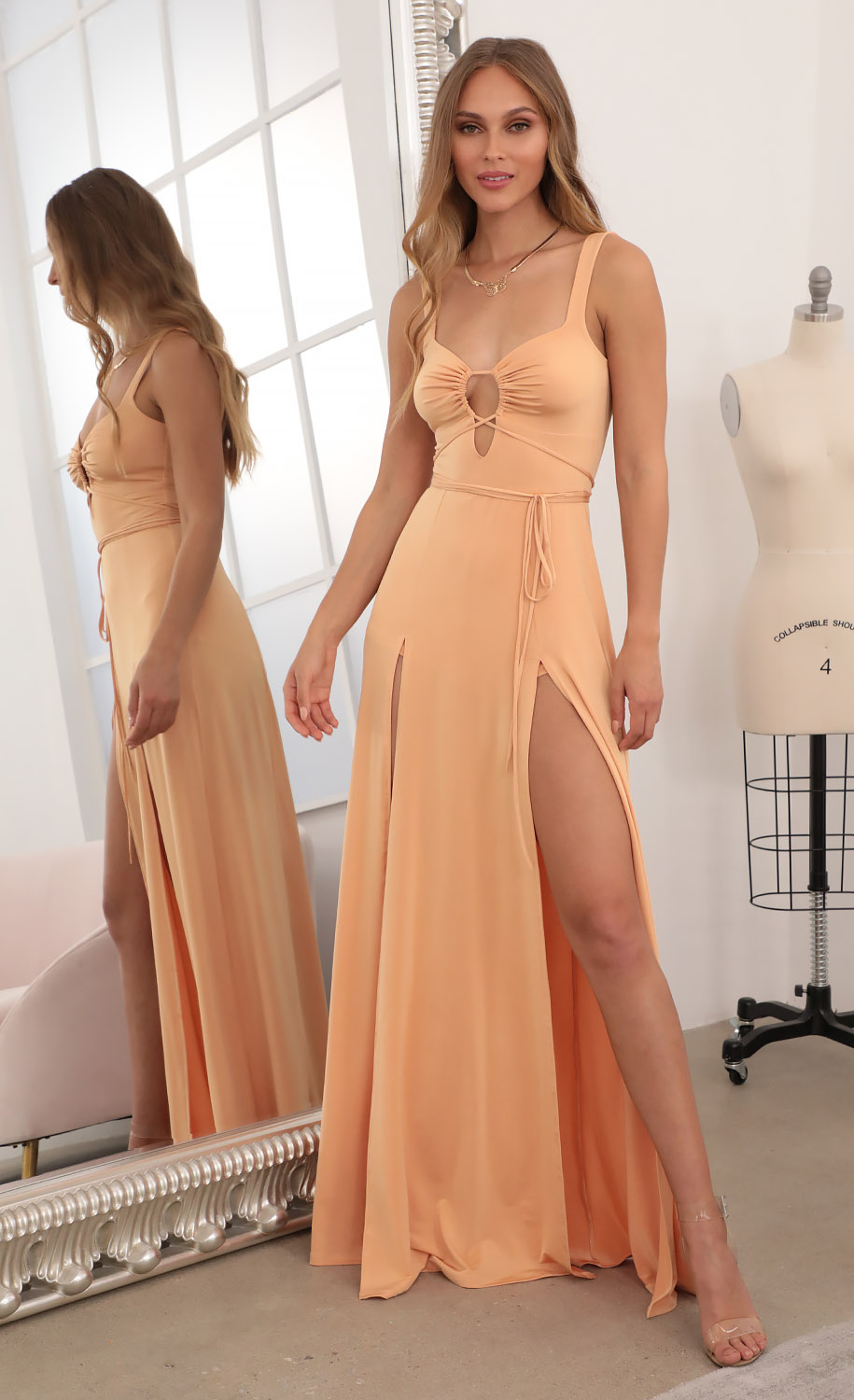 Jesse Front Tie Maxi Dress in Tangerine