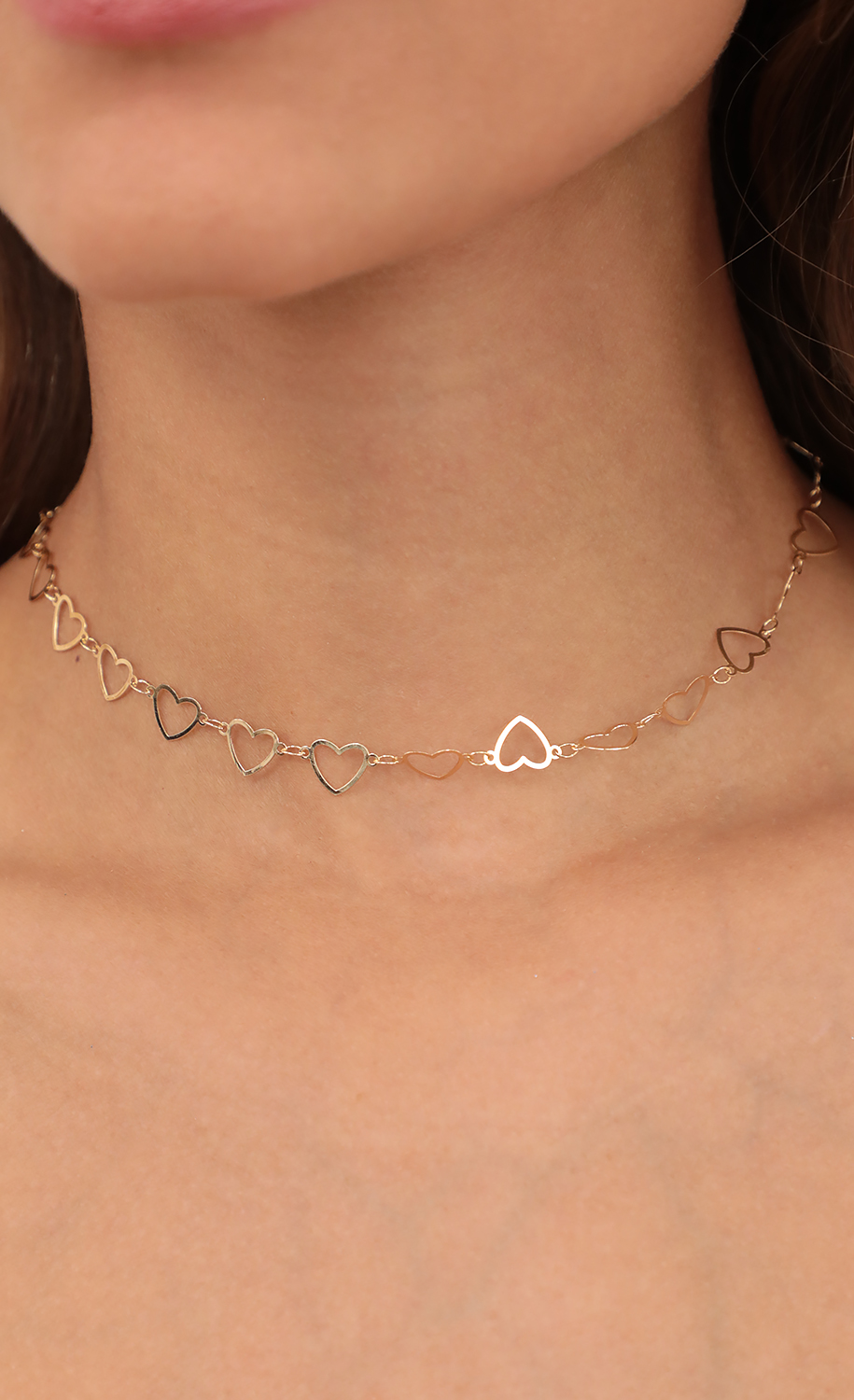 Gold Heart-Link Chain Necklace