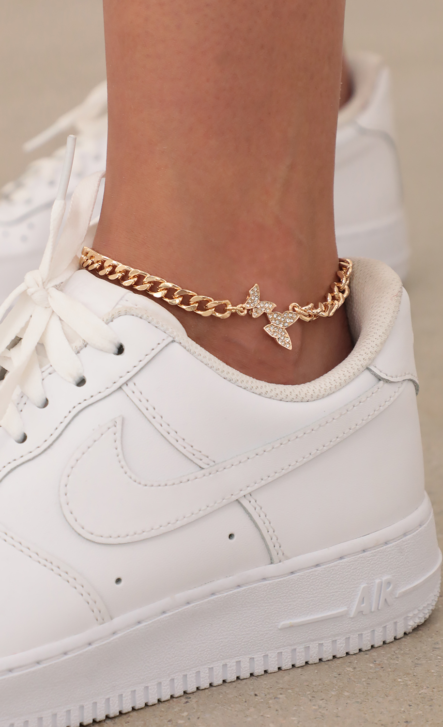 Cuban Chain Anklet with Pave Butterflies