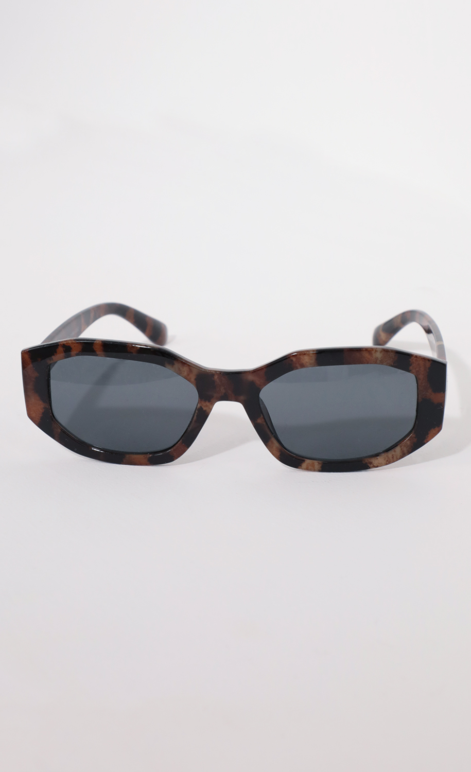 Polygon Geometric Sunglasses in Leopard