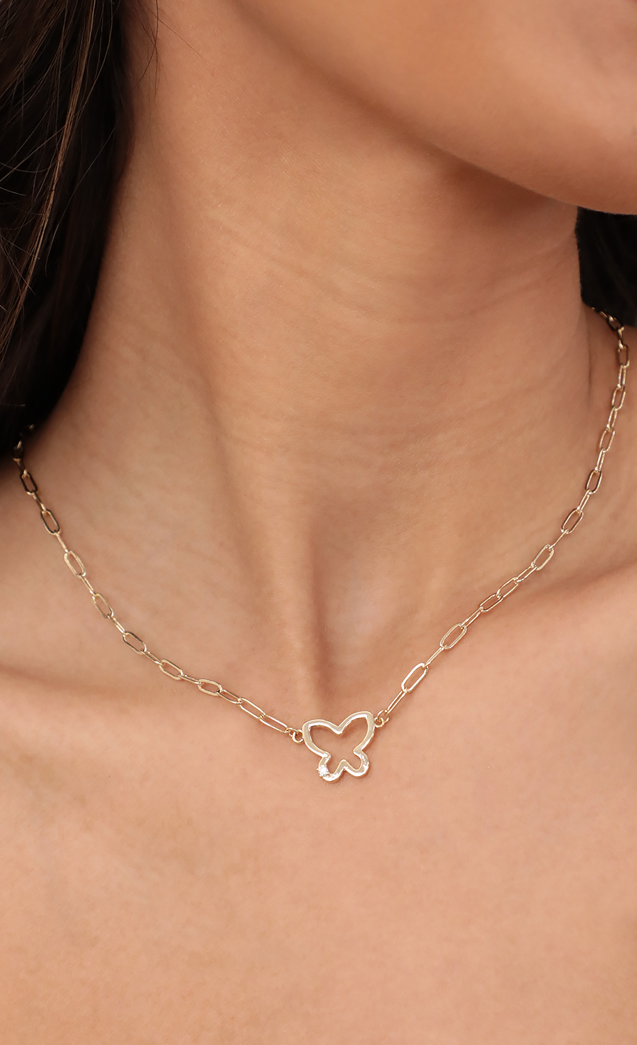 Gold Butterfly Link Necklace