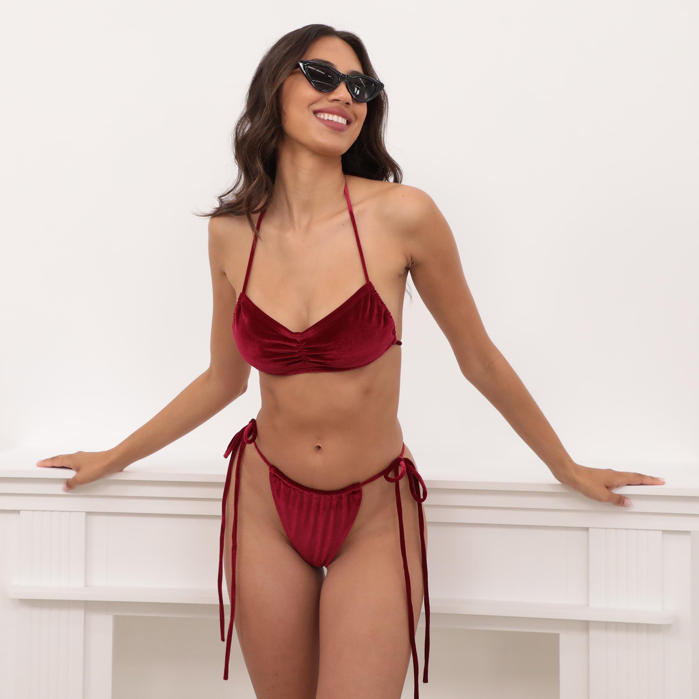 Byron Bandeau Bikini Set in Burgundy