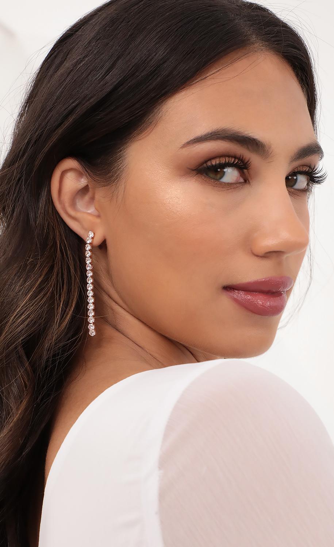 Tennis Drop Earrings in Gold
