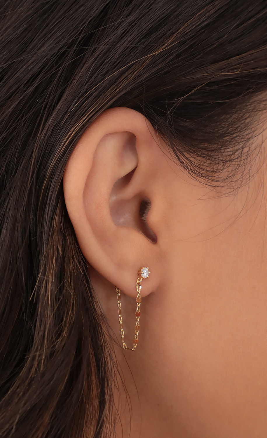 Crystal Chain Stud Earring in Gold