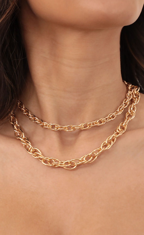 Interlocked Chain Necklace Set