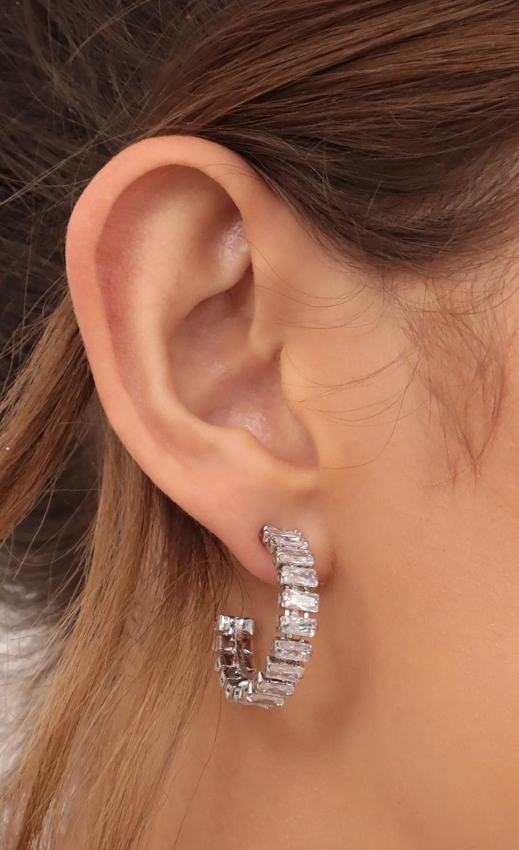 Baguette Hoop Earrings in Silver