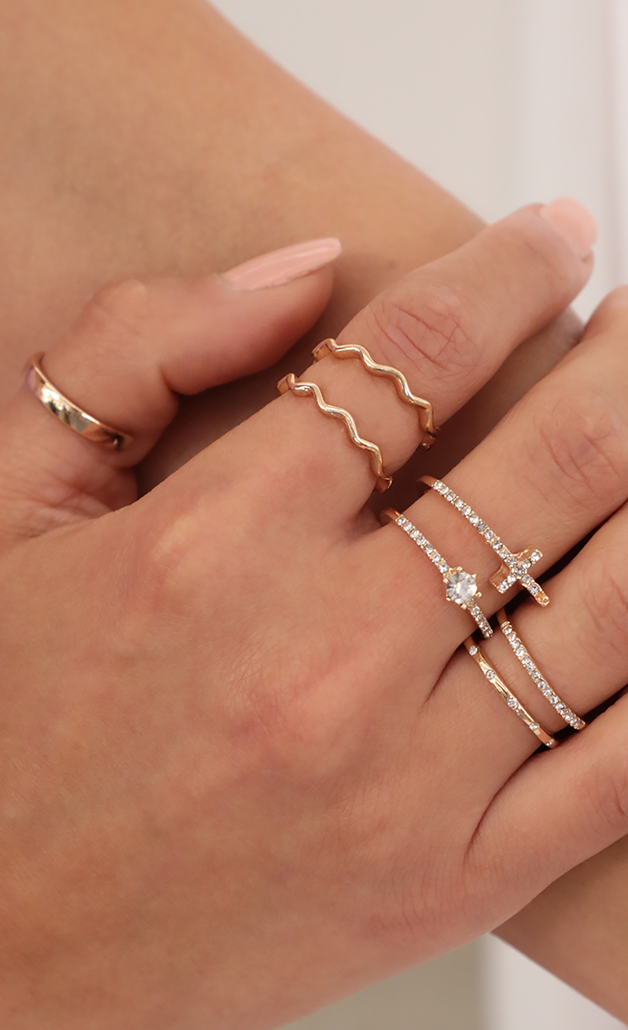 Pave Cross Ring Set in Gold