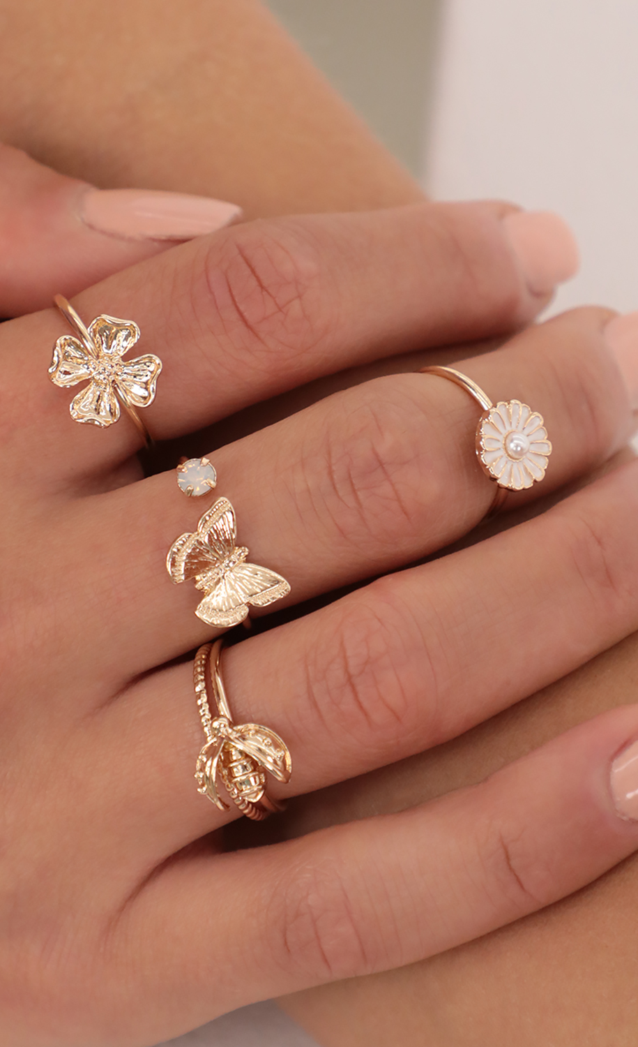 Daisy and Butterfly Ring Set