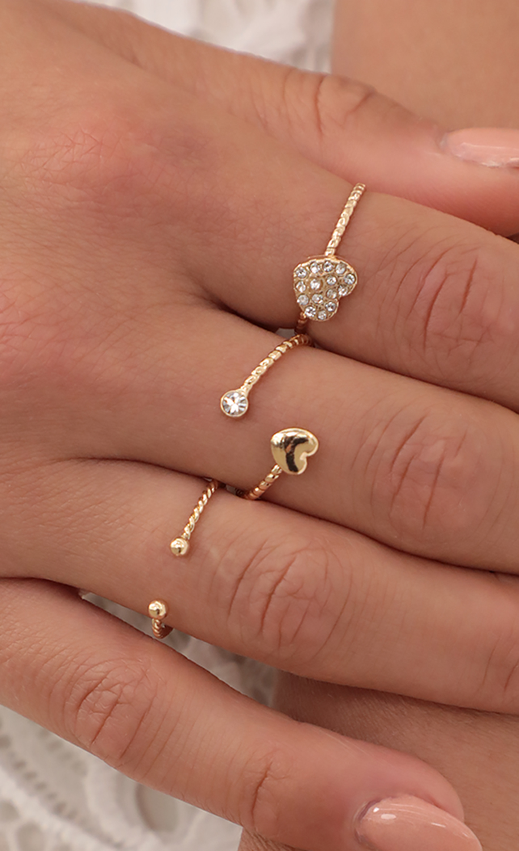 Gold-Tone Heart Ring Set