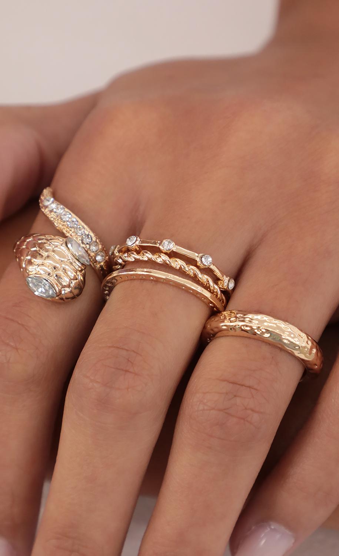 Embellished Snake Ring Set