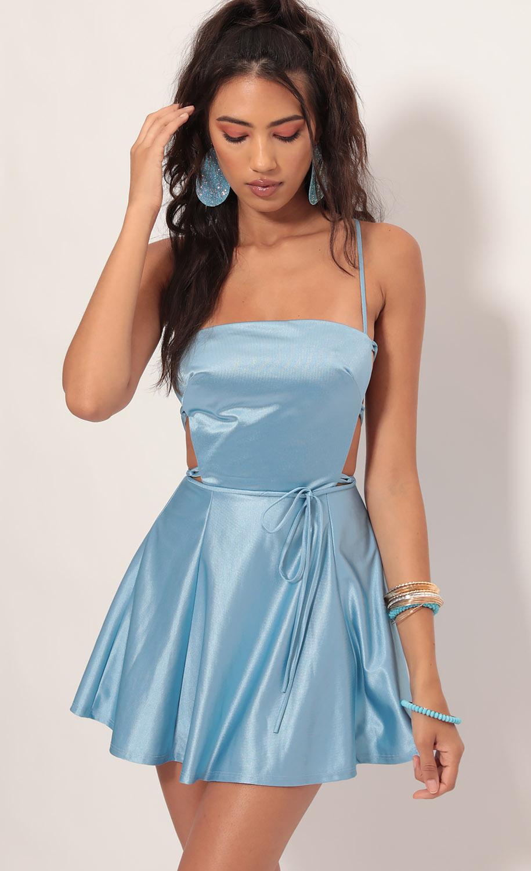 Nina Satin Cutout A-line Dress in Blue
