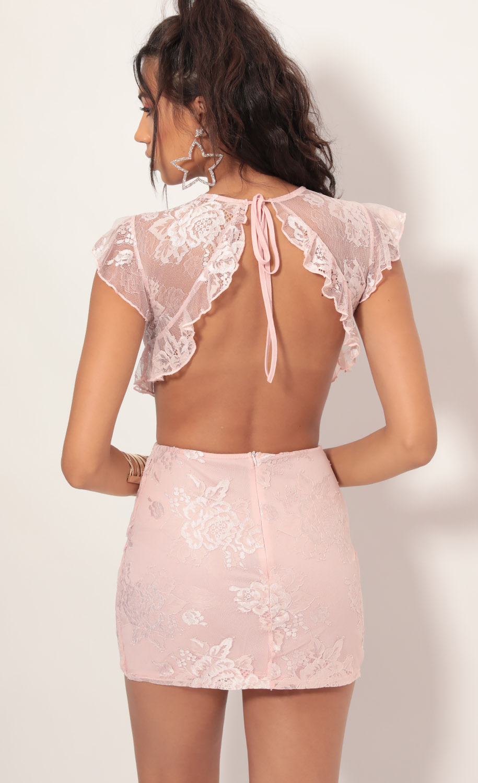 Kerri Lace Frill Cutout Dress in Light Mauve