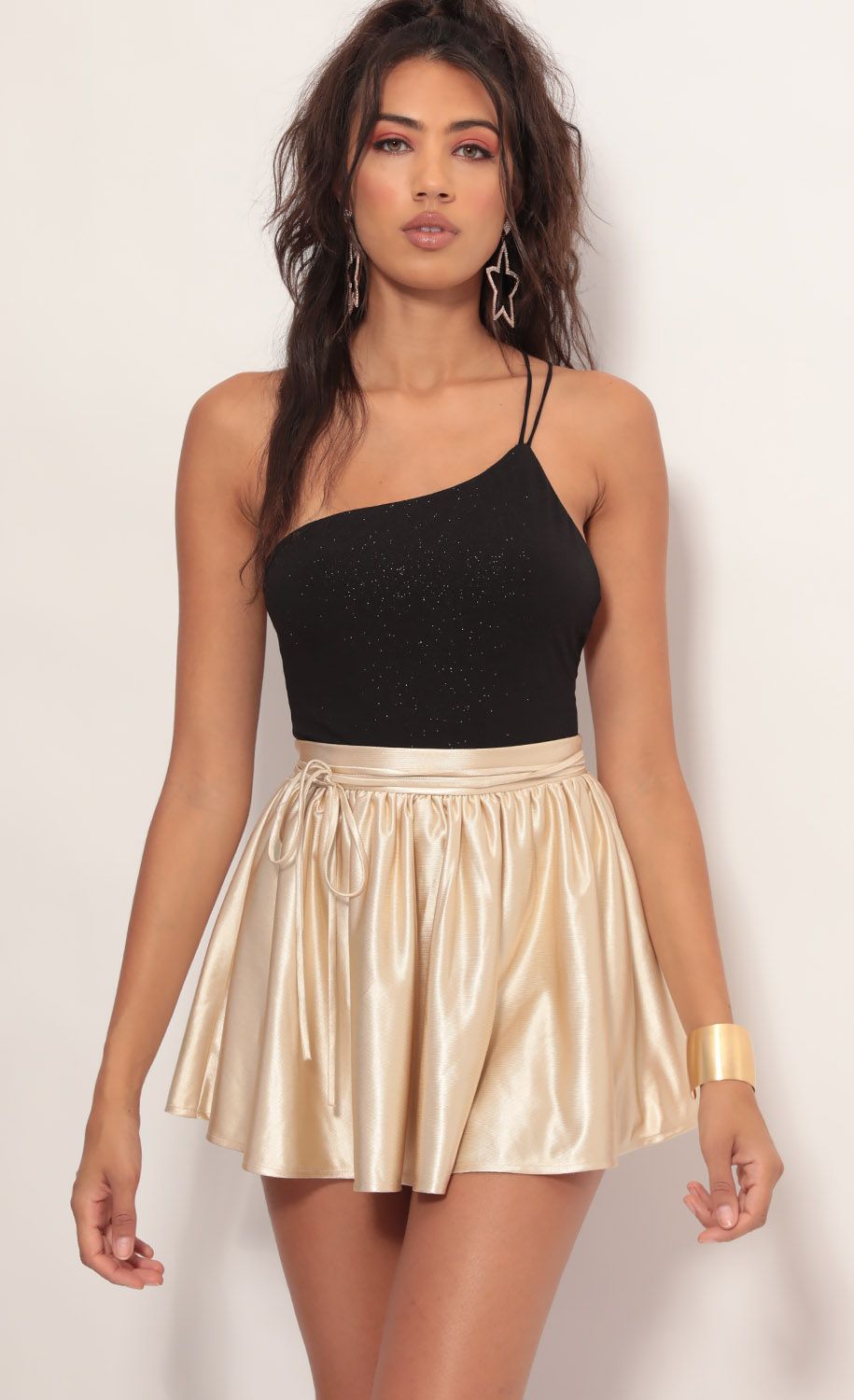 Lena A-line Satin Skirt in Champagne