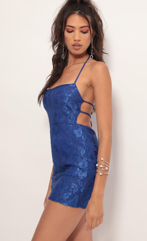 Lustrous Lace Dress in Royal Blue