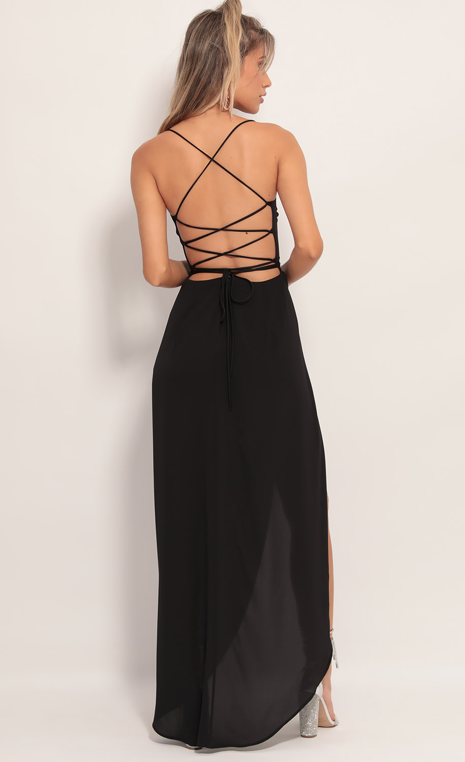 Chiffon Luxe Maxi Dress in Black