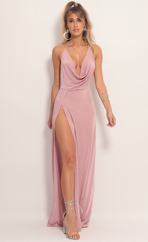 Kaira Cowl Neck Maxi Dress in Mauve