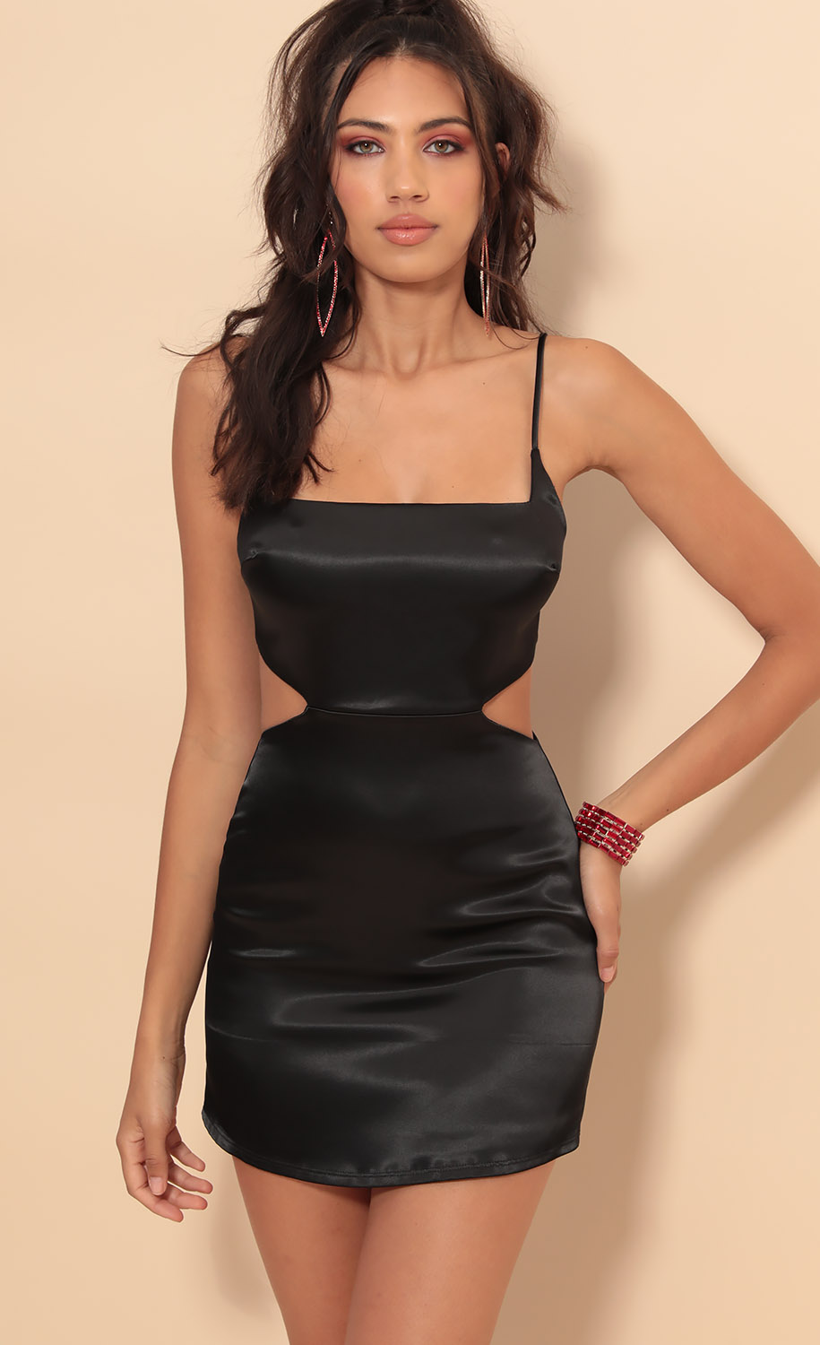Alina Satin Hourglass Dress in Black
