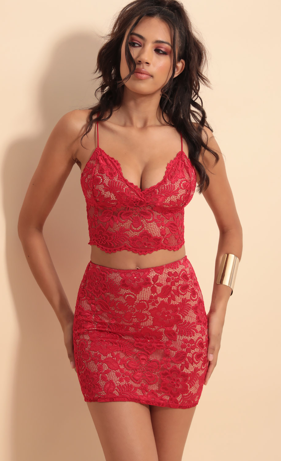 Pasadena Scallop Lace Set in Red