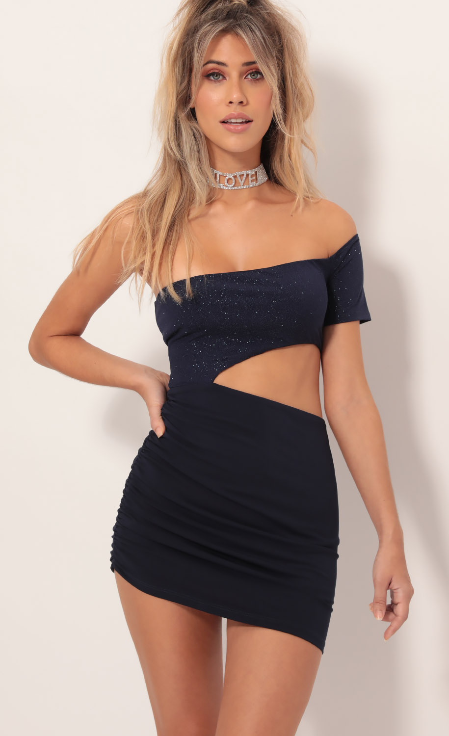 Marla Asymmetric Cutout Dress in Sparkling Navy