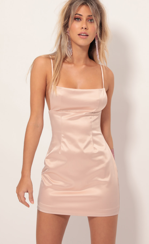Blake Satin Edge Dress in Blush