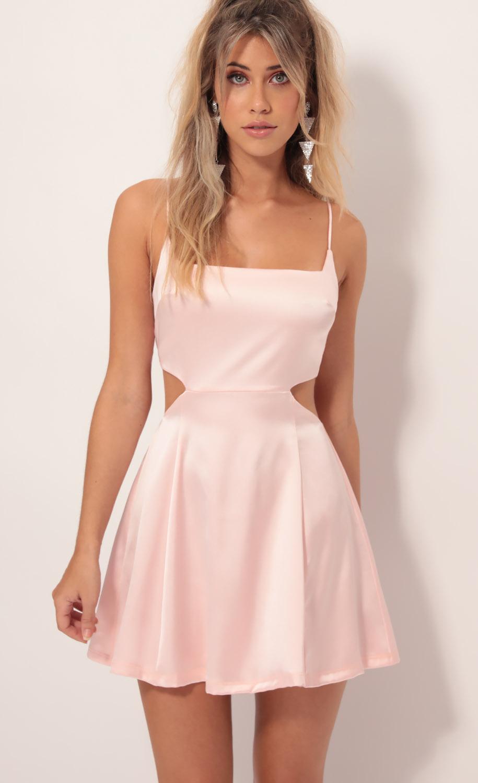 Alani Satin Diamond Cutout Dress in Blush