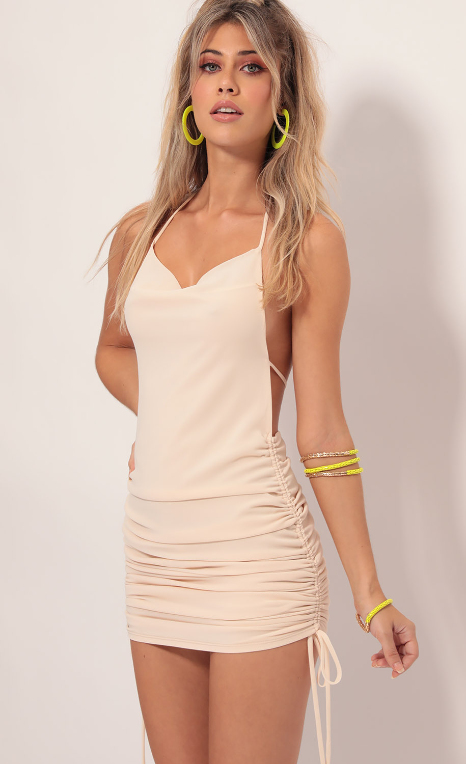 Delilah Halter Plunge Back Dress in Vanilla