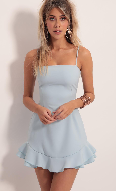Aubrey Ruffle Dress In Light Blue