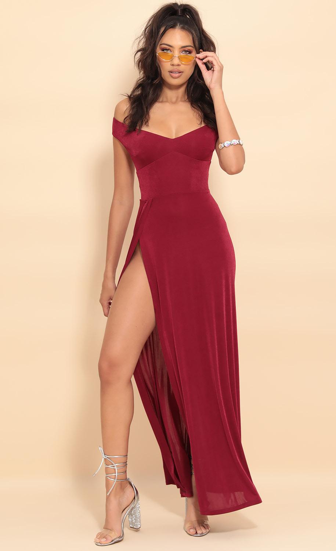 Dianna Luxe Maxi Dress in Merlot