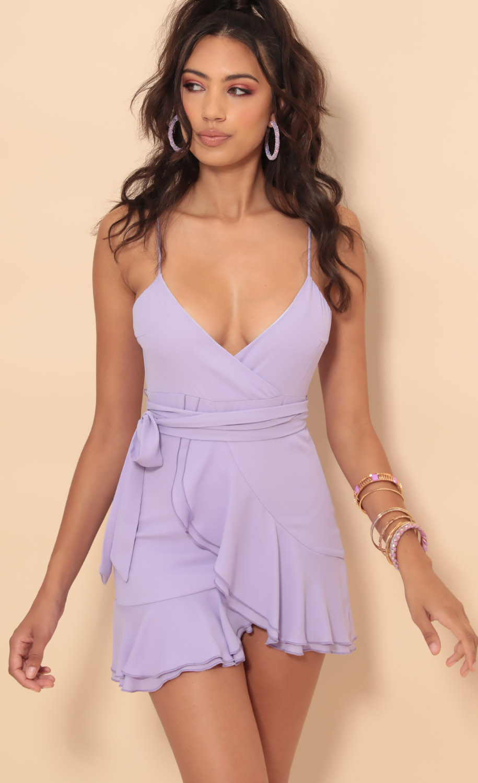 Becca Chiffon Ruffle Dress in Lavender