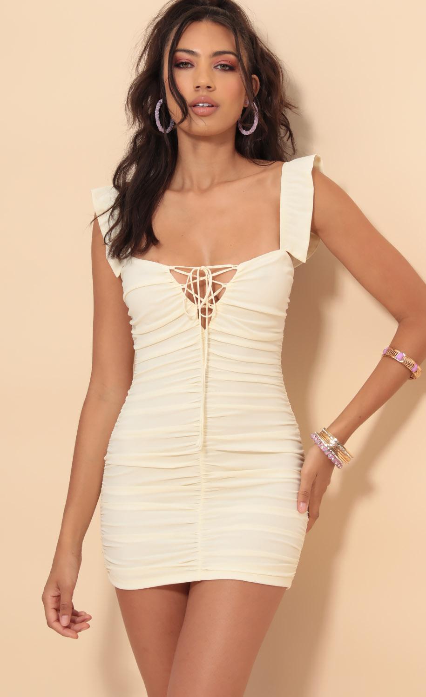 Chantel Ruched Frill Dress in Vanilla