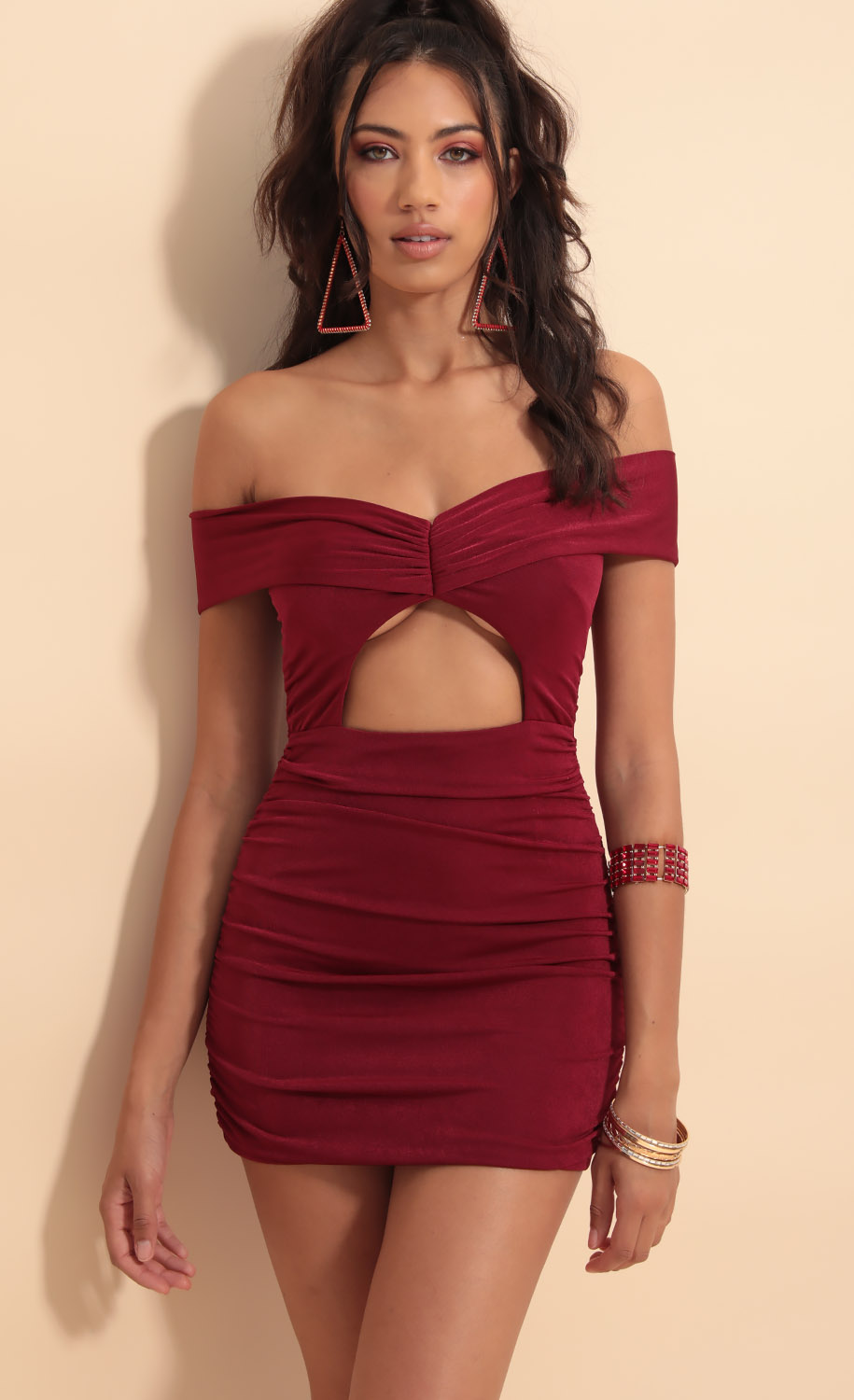 Anneliese Luxe Cutout Dress in Merlot