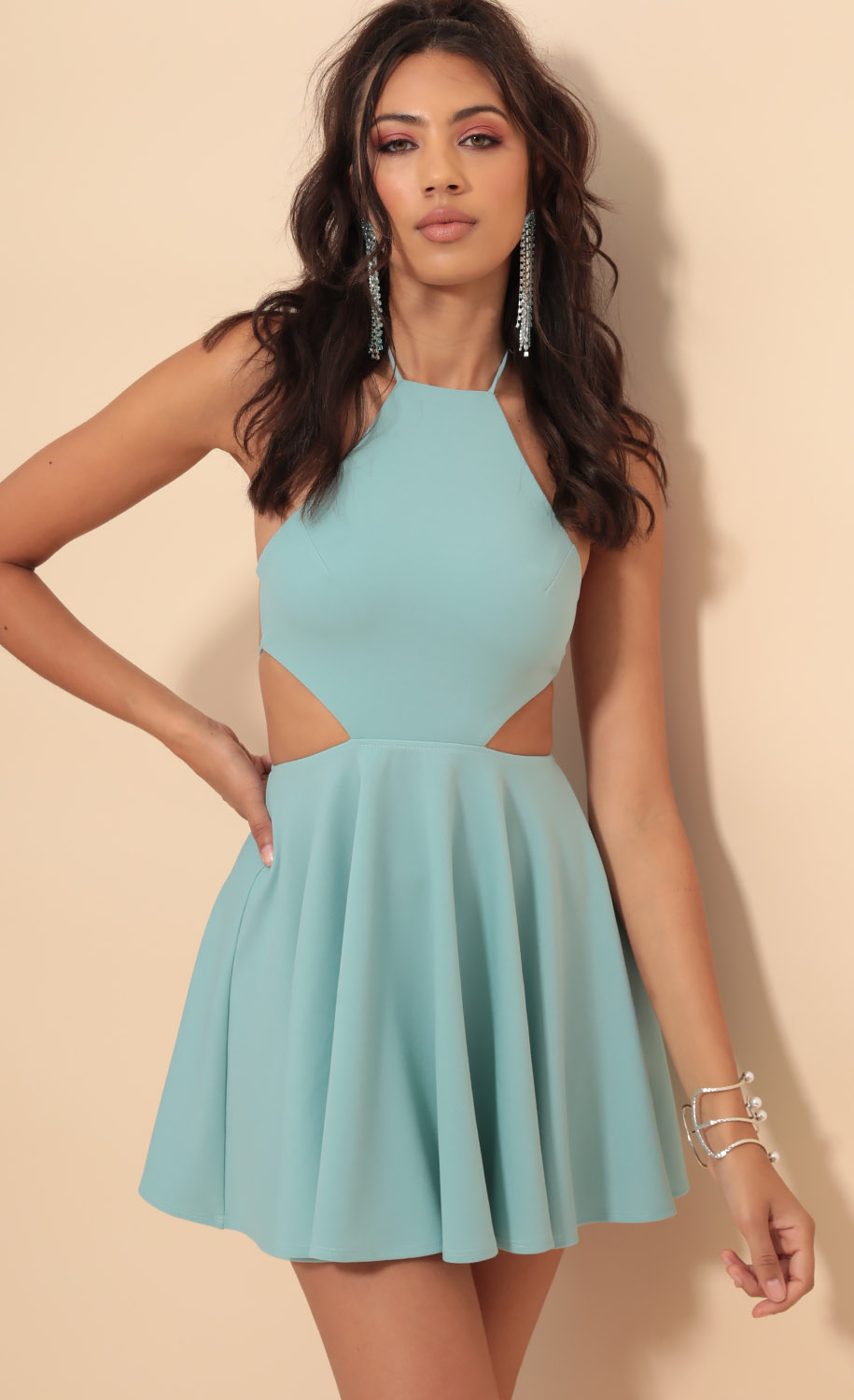 Brynn Halter Cutout A-line Dress in Turquoise