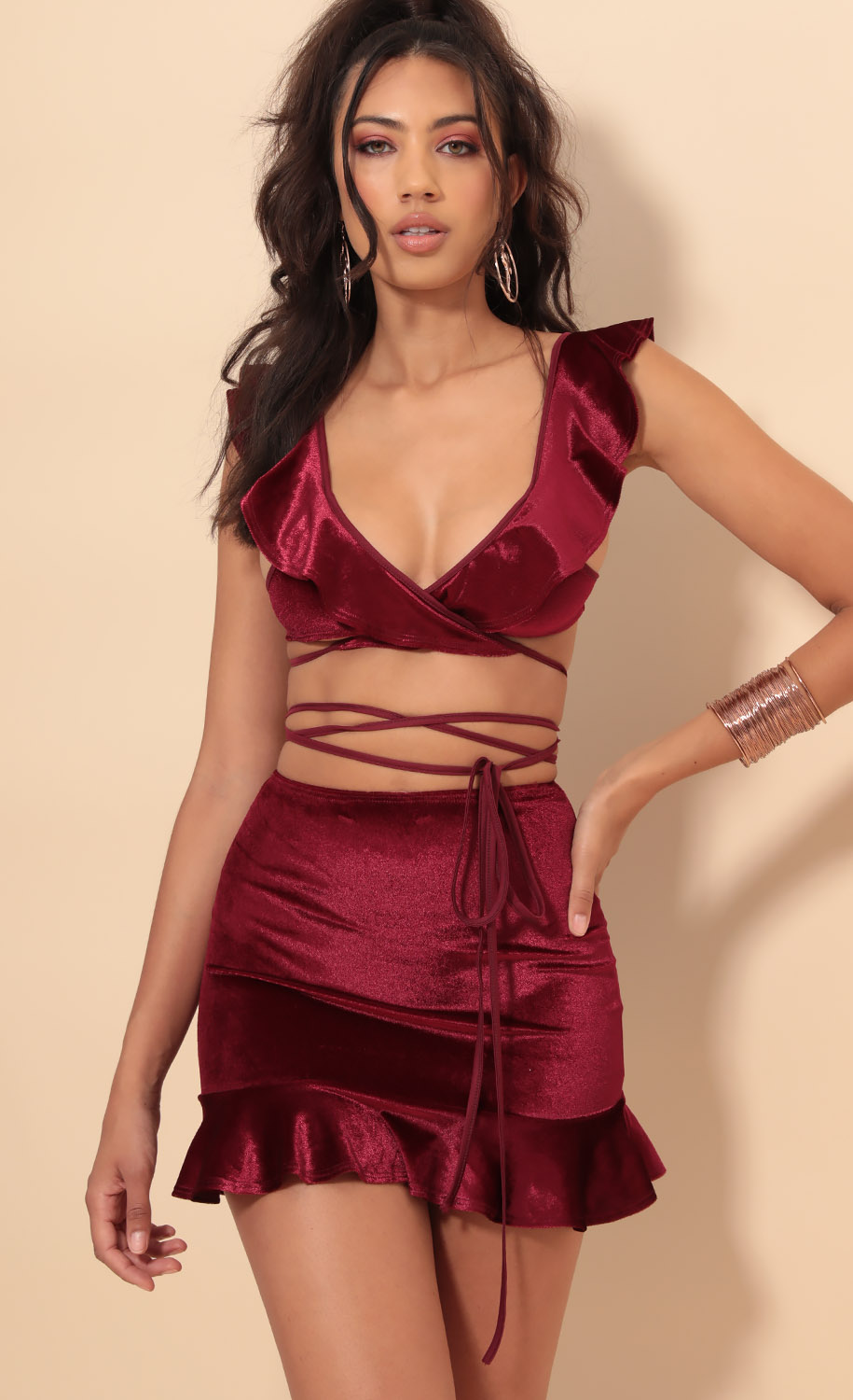 Madison Velvet Ruffle Set In Merlot