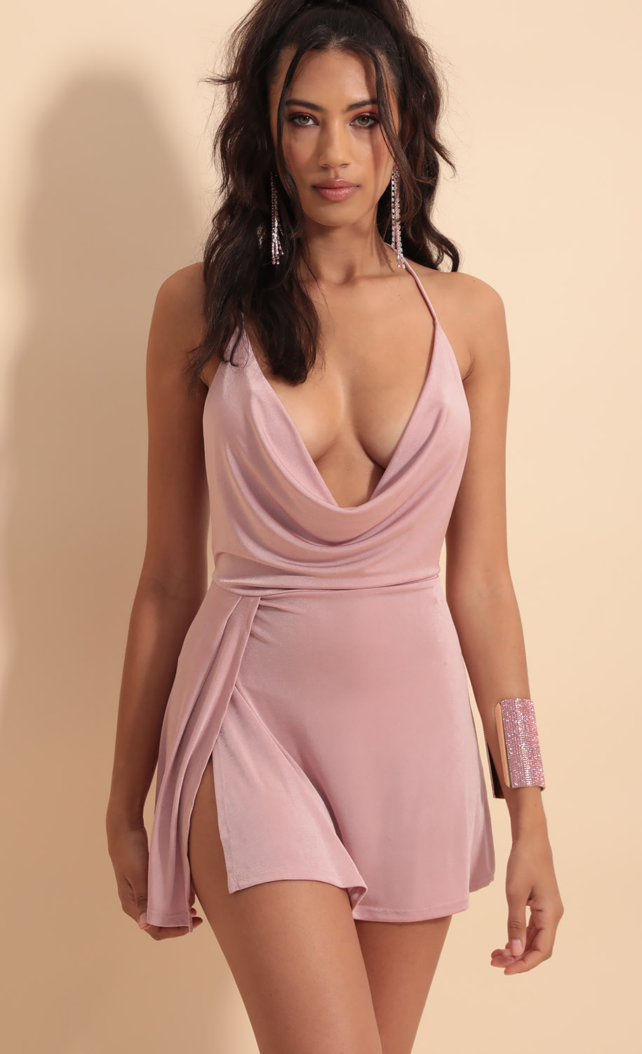 Kiana Cowl Neck Dress in Mauve